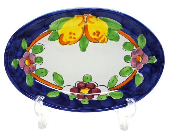 楕円皿 花とレモン(27cmサイズ)